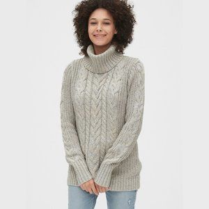 GAP Cable Knit Turtleneck Sweater Gray Size XS